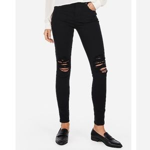 Express Black High Rise Ripped Jeggings - NWT